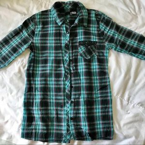 Volcom Blue Flannel Plaid Button Down